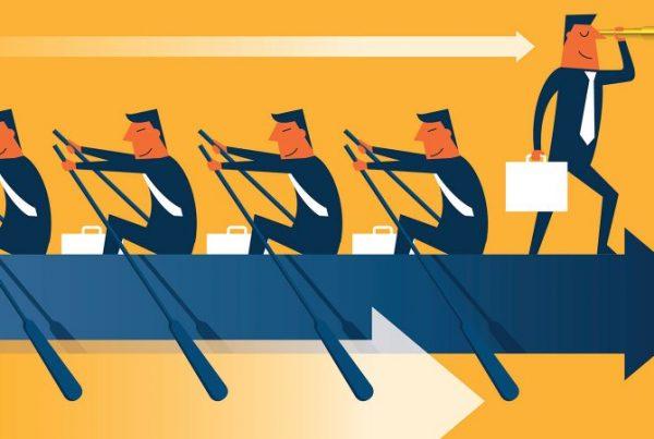 Illustration of leadership, people rowing on a forward arrow