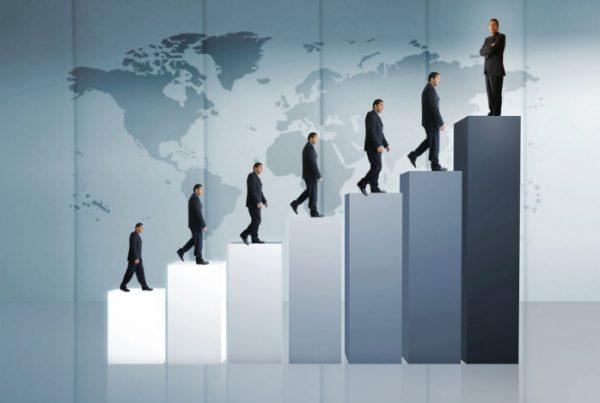 People on steps showing leadership development