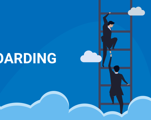 Illustration of 2 men helping each other up a ladder above clouds